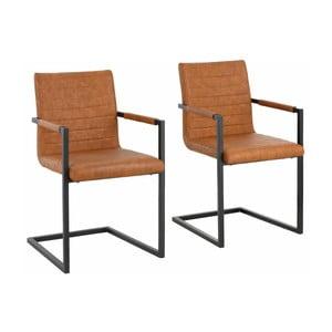 Zestaw 2 brązowych krzeseł z podłokietnikami Støraa Sandra