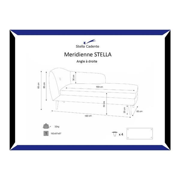 Turkusowy szezlong prawostronny Stella