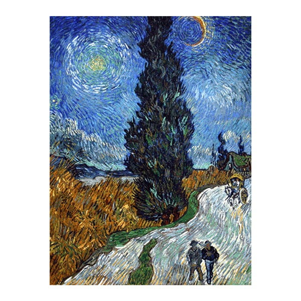 Reprodukcja obrazu Vincenta van Gogha - Country road in Provence by night, 70x50 cm