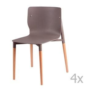 Zestaw 4 jasnoszarych krzeseł z drewnianymi nogami sømcasa Alisia