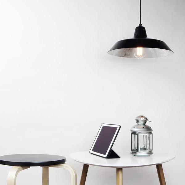 Czarna lampa wisząca z wnętrzem w srebrnym kolorze Cinco