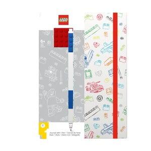 Czerwono-biały notes A5 z niebieskim długopisem LEGO®, 96 stron