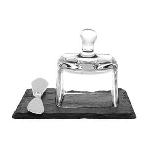 Maselniczka z nożem Cloche, łupek kamienny, 13x13 cm