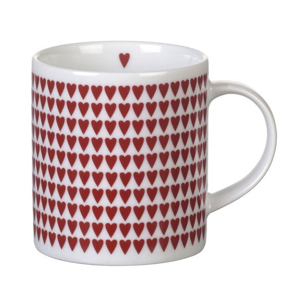 Czerwony porcelanowy kubek Red Hearts, 8,5 cm