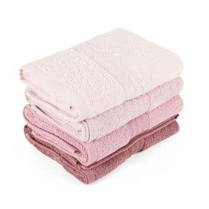 Zestaw 4 różowych ręczników Rainbow Dusty Rose, 50x90cm