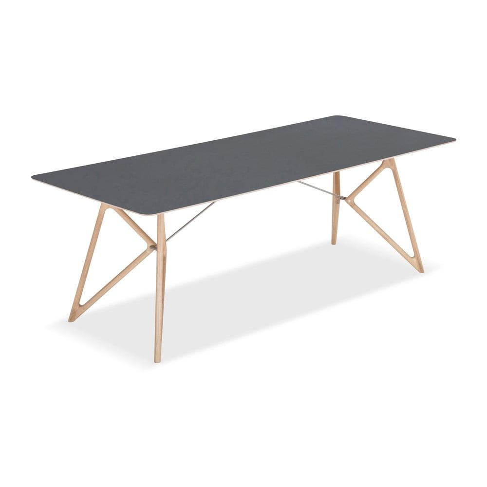 Stół z litego drewna dębowego z czarnym blatem Gazzda Tink, 220x90cm
