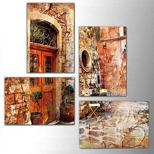 Czteroczęściowy obraz Old Door, 76x76 cm