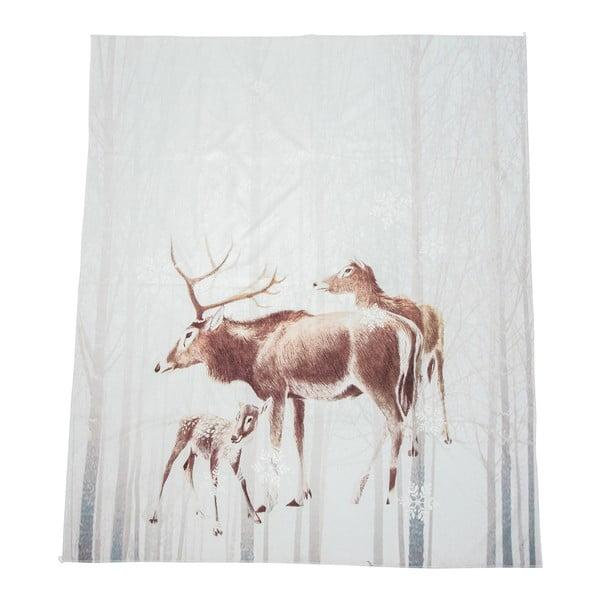 Biały koc J-Line Deer, 130x160 cm