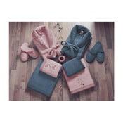 Zestaw damskiego i męskiego szlafroka, ręczników i pantofli w różowym i niebieskim kolorze Family Bath