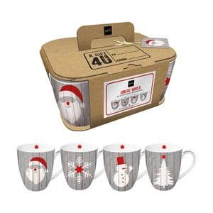 Zestaw 4 kubków z porcelany kostnej ze świątecznym motywem w ozdobnym opakowaniu PPD Xmas Mugs, 350 ml