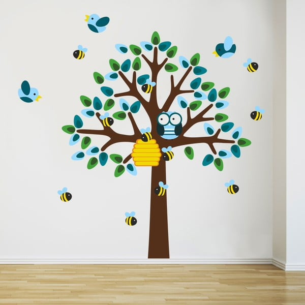 Naklejka ścienna Drzewo i pszczoły, 2 arkusze, 70x50 cm