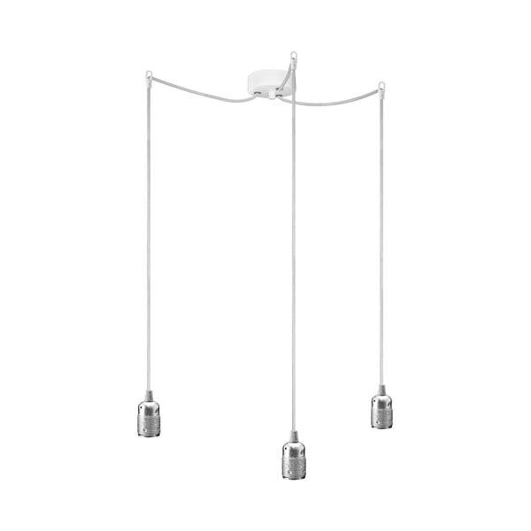 Lampa wisząca z białym kablem i oprawą żarówki w kolorze srebra Bulb Attack Uno