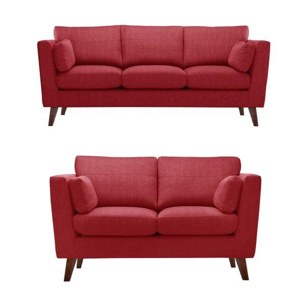 Czerwony zestaw 2 sof dwuosobowej i trzyosobowej Jalouse Maison Elisa