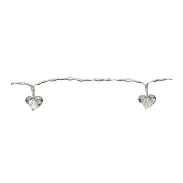 Świecący łańcuch LED Best Season White Hearts, 135 cm