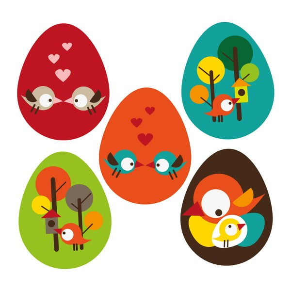 Naklejka wielokrotnego użytku Wiosenna trawka i jajeczka