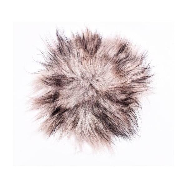Poduszka futrzana do siedzenia z długim włosiem Silver, 35 cm