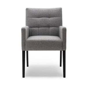 Szare krzesło z podłokietnikami i nogami z drewna dębowego Mossø Menne