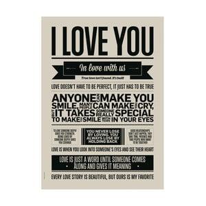 Plakat autorski I Love You, 50x70 cm