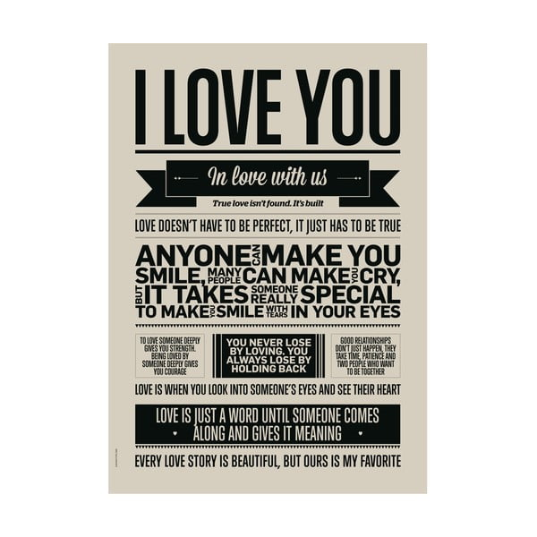 Plakat autorski I Love You, 50x70 cm