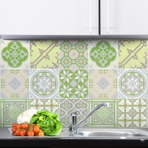 Zestaw 9 naklejek Ambiance Azulejos Tiles Verde