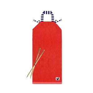 Czerwony leżak plażowy Origama Blue Stripes