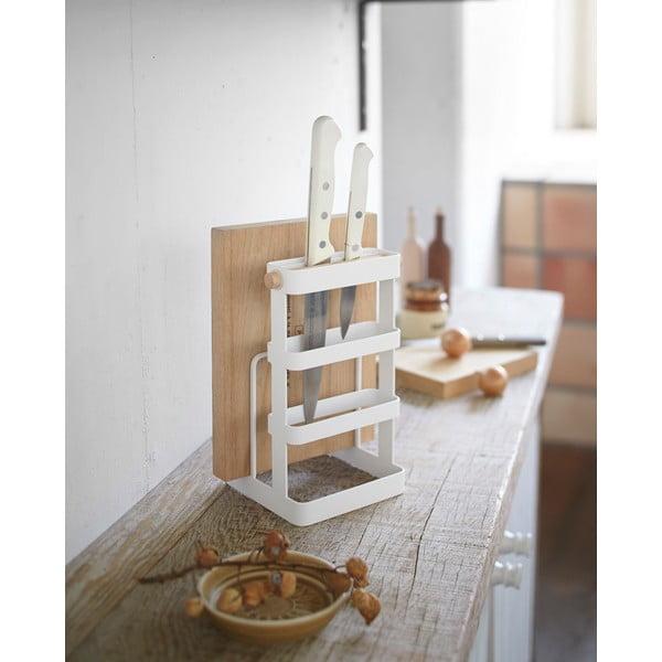 Biały stojak na noże i deski do krojenia Yamazaki Tosca