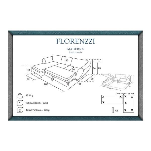 Narożnik rozkładany lewostronny Florenzzi Maderna Anthracite/Turquoise