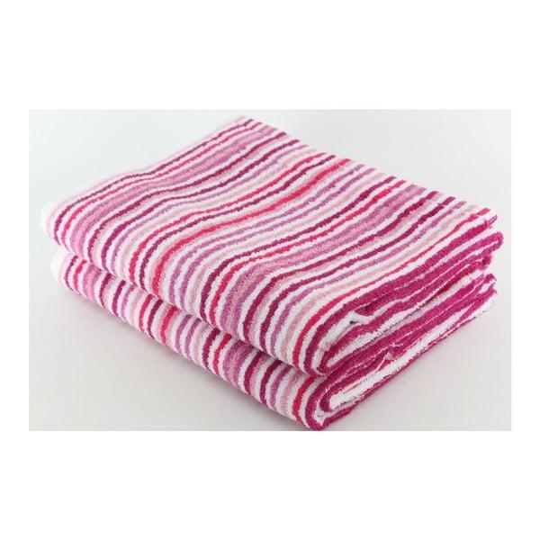 Komplet 2 ręczników Pink Stripes, 70x140 cm