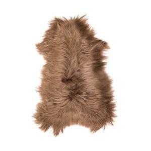 Brązowa skóra owcza z długim włosiem Fujo, 110x55cm