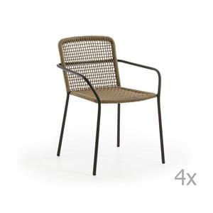 Zestaw 4 brązowych krzeseł ogrodowych La Forma Boomer