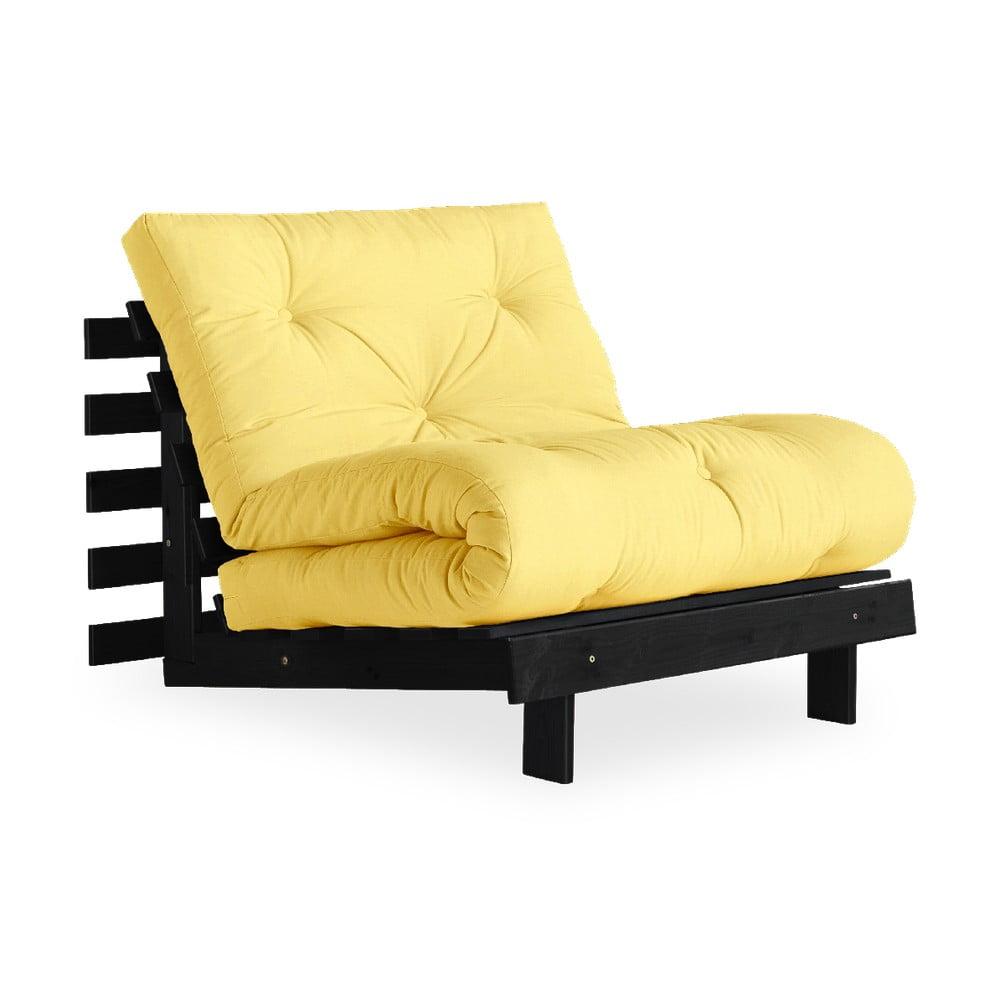 Fotel rozkładany z jasnożółtympokryciem Karup Design Roots Black/Yellow