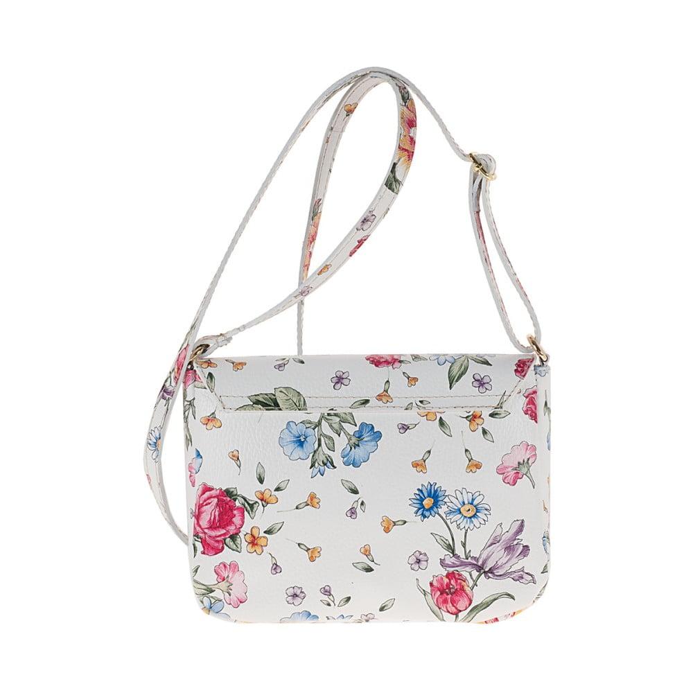 ebe6a51963613 ... Biała skórzana torebka w kwiaty Pitti Bags Neva ...
