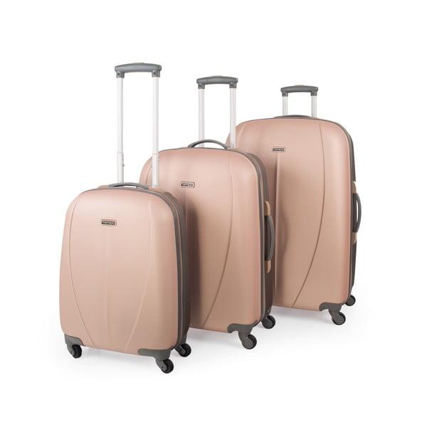 Zestaw 3 walizek Tempo, brzoskwiniowy