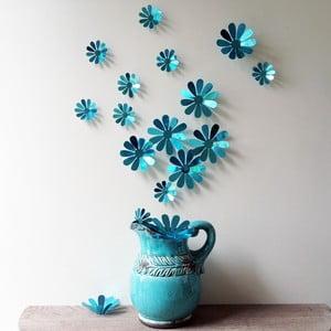 Zestaw  12 naklejek elektrostatycznych 3D Ambiance Flowers Chic Blue