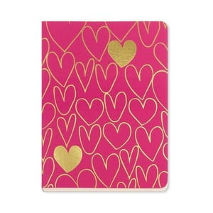 Notes A6 Go Stationery Gold Hearts Magenta