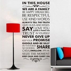 Naklejka dekoracyjna In This House, 56x120 cm