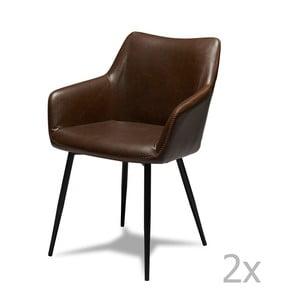 Zestaw 2 ciemnobrązowych krzeseł Furnhouse Maria