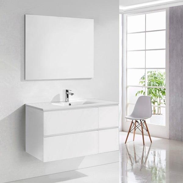 Szafka do łazienki z umywalką i lustrem Capri, odcień bieli, 100 cm