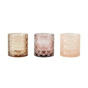 Zestaw 3 kremowych świeczników na tealight KJ Collection Glass, 7x7,5cm