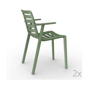 Zestaw 2 zielonych krzeseł ogrodowych z podłokietnikami Resol Slatkat