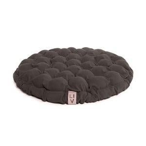 Brązowoszara poduszka do siedzenia wypełniona piłeczkami do masażu Lindy Vrňáková Bloom, Ø 65 cm