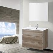 Szafka do łazienki z umywalką i lustrem Nayade, motyw dębu, 90 cm