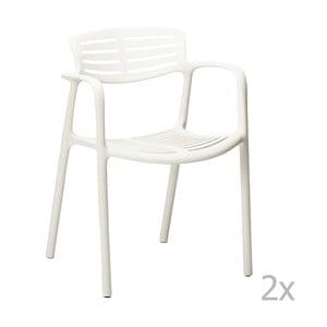 Zestaw 4 białych krzeseł ogrodowych z podłokietnikami Resol Toledo Aire