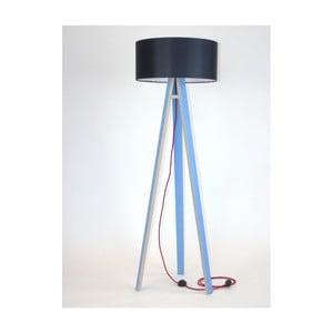 Niebieska lampa stojąca z czarnym abażurem i czerwonym kablem Ragaba Wanda
