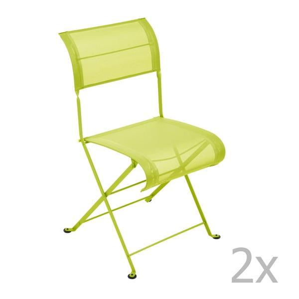 Zestaw 2 limonkowych krzeseł składanych Fermob Dune