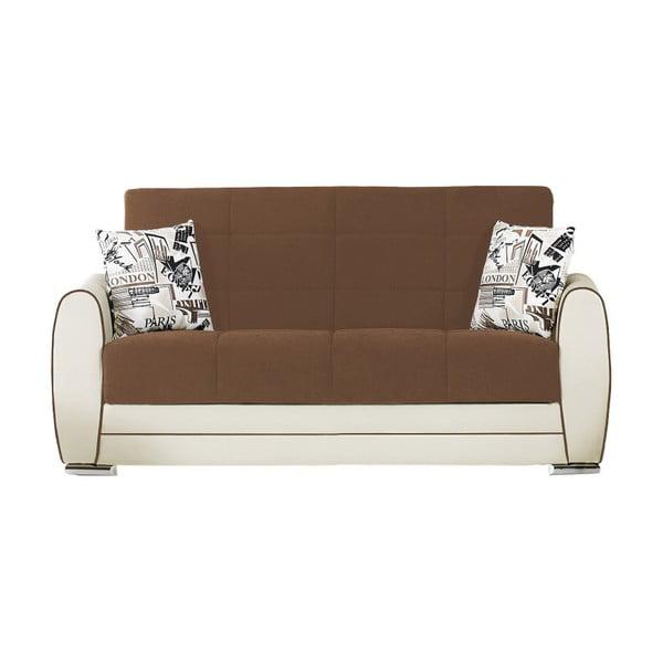Kakaowo-kremowa dwuosobowa sofa rozkładana ze schowkiem Esidra Rest