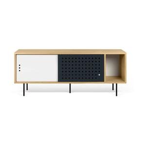 Stolik pod TV w kolorze dębu z czarno-białymi elementami TemaHome Dann Dots, dł. 165cm