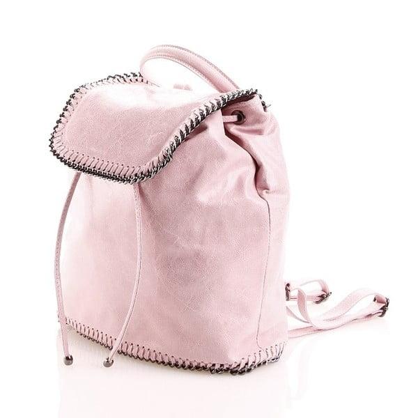 Plecaczek skórzany Emily, różowy