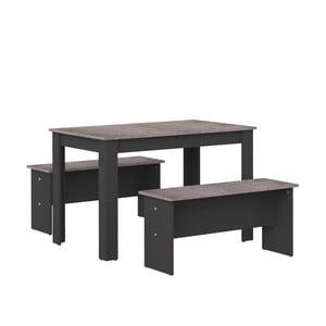 Komplet czarnego stołu i 2 ławek z blatem w dekorze betonu Symbiosis Nice