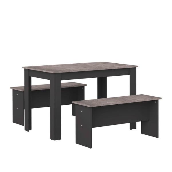 Komplet czarnego stołu i 2 ławek z blatem w dekorze betonu TemaHome Nice
